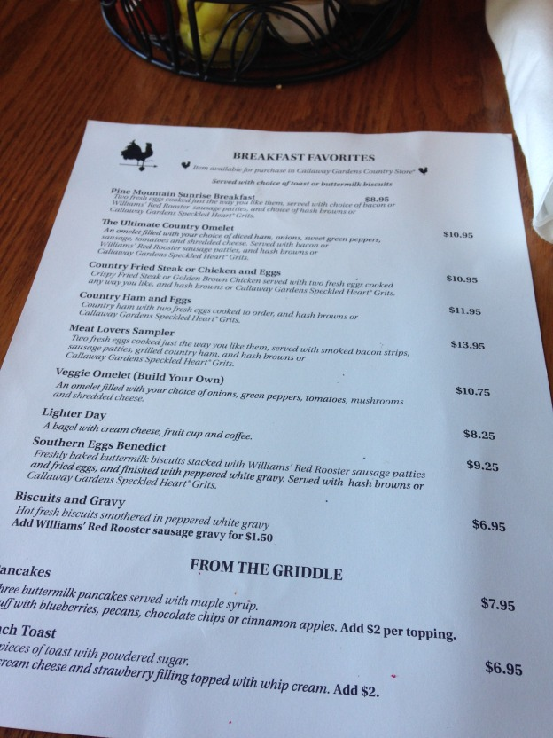 Picture of the breakfast menu at The Country Kitchen