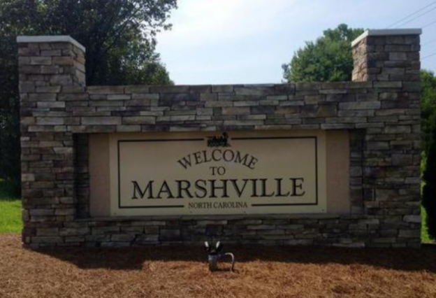 New town sign in Marshville, NC. Photo Credit:Adam Bell - abell@charlotteobserver.com