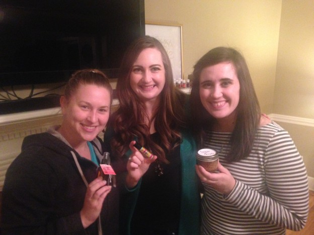 Intro to Oils Make and Take with Stephanie (my sponsor) and Kristin (friend, fellow Golden Drop cross line member)